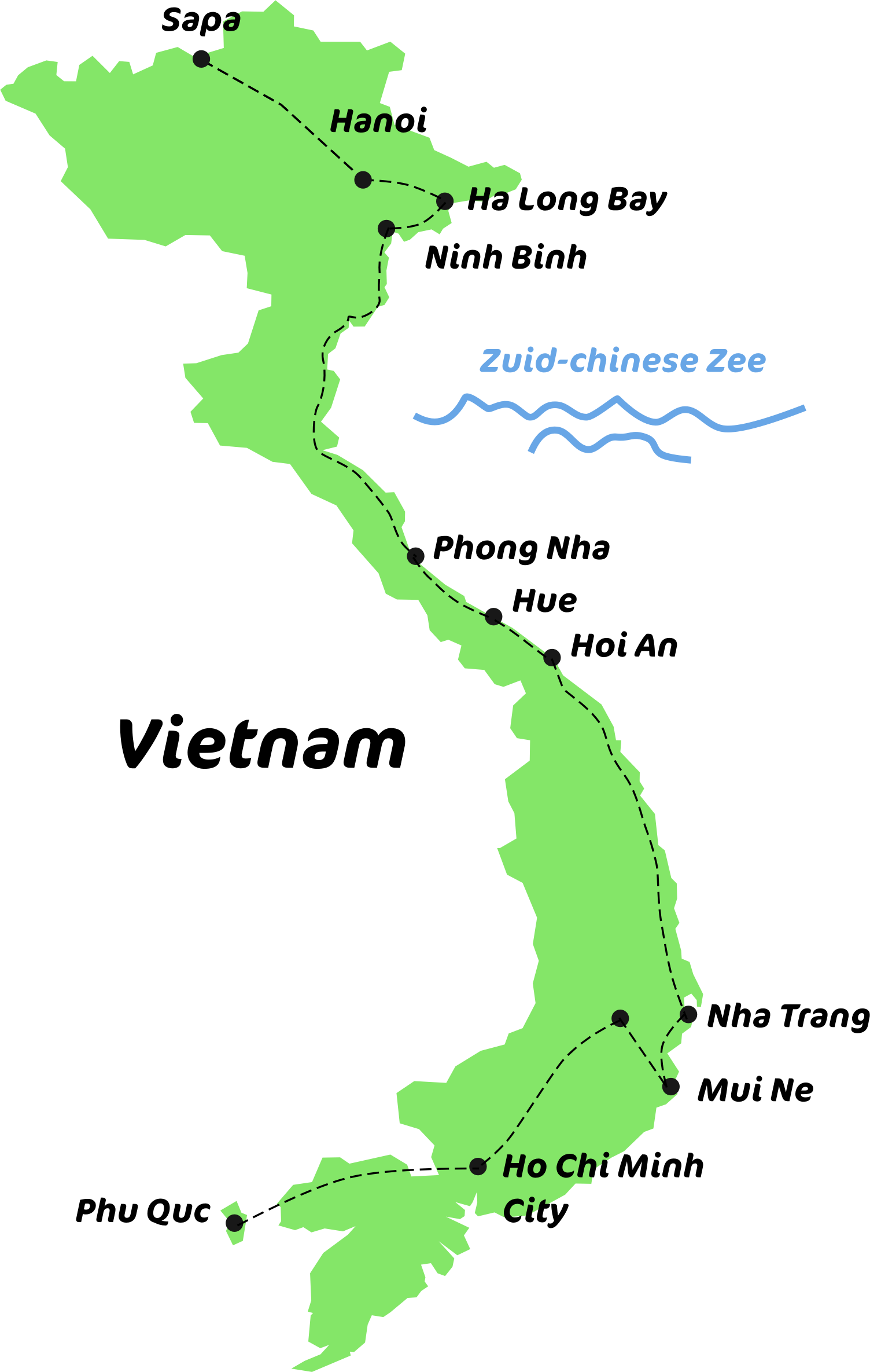 kaart van de backpack route Vietnam