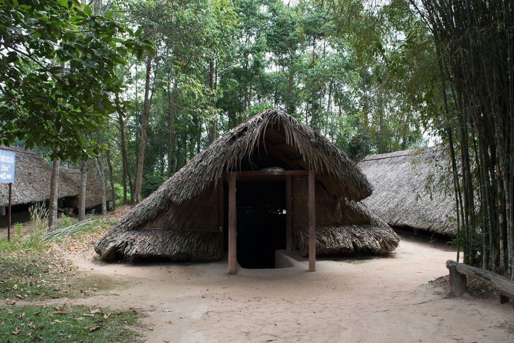 De hutten van vietcong strijders