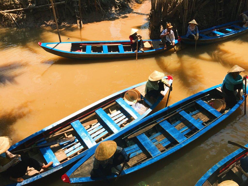 Floating market op de Mekong Delta